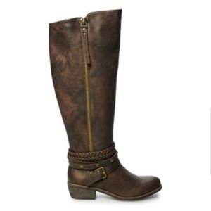 ⬇️NWT Brown Riding Boots Tall Size 5 heel,buckle